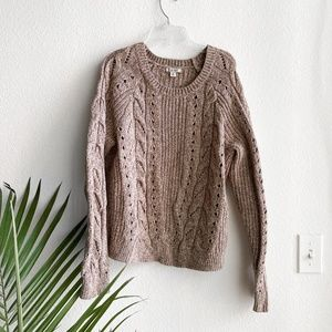 lucky brand / taupe cable knit sweater XL